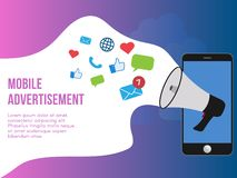 Mobile advertisement concept illustration design template vector illustration