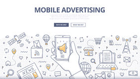 Mobile Advertising Doodle Concept. Doodle design style concept of digital advertising technologies on mobile devices Royalty Free Stock Photo