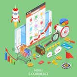 Mobile advertising flat isometric vector concept. Stock Image