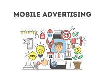 Mobile advertising illustration. Royalty Free Stock Images