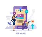 Mobile advertising. Marketing, digital strategy, social network, pr management. royalty free illustration