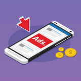 Mobile advertising social media sponsored. Vector illustration Stock Photography