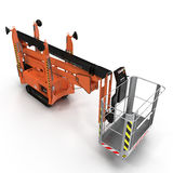 Mobile aerial work platform - Orange scissor hydraulic self propelled lift on a white. 3D illustration. Mobile aerial work platform - Orange scissor hydraulic Stock Photography