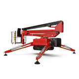 Mobile aerial work platform - Red scissor hydraulic self propelled lift on a white. 3D illustration Royalty Free Stock Image