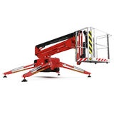 Mobile aerial work platform - Red scissor hydraulic self propelled lift on a white. 3D illustration Royalty Free Stock Photography