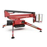 Mobile aerial work platform - Red scissor hydraulic self propelled lift on a white. 3D illustration. Mobile aerial work platform - Red scissor hydraulic self Royalty Free Stock Images