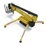 Mobile aerial work platform - Yellow scissor hydraulic self propelled lift on a white background. 3D illustration. Mobile aerial work platform - Yellow scissor Stock Photos