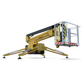 Mobile aerial work platform - Yellow scissor hydraulic self propelled lift on a white background. 3D illustration. Mobile aerial work platform - Yellow scissor Royalty Free Stock Photography