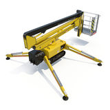 Mobile aerial work platform - Yellow scissor hydraulic self propelled lift on a white background. 3D illustration. Mobile aerial work platform - Yellow scissor Royalty Free Stock Photos