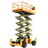 Mobile aerial work platform - Yellow scissor hydraulic self propelled lift on a white. 3D illustration Royalty Free Stock Image