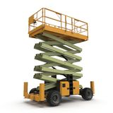 Mobile aerial work platform - Yellow scissor hydraulic self propelled lift on a white. 3D illustration Royalty Free Stock Photo