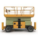 Mobile aerial work platform - Yellow scissor hydraulic self propelled lift on a white. Side view. 3D illustration Stock Photos