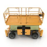 Mobile aerial work platform - Yellow scissor hydraulic self propelled lift on a white. Side view. 3D illustration Royalty Free Stock Photography