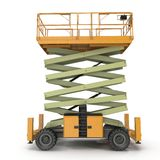 Mobile aerial work platform - Yellow scissor hydraulic self propelled lift on a white. Side view. 3D illustration Royalty Free Stock Photo