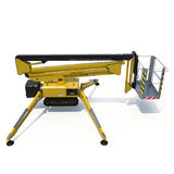 Mobile aerial work platform - Yellow scissor hydraulic self propelled lift on a white. Side view. 3D illustration. Mobile aerial work platform - Yellow scissor Stock Photography