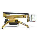 Mobile aerial work platform - Yellow scissor hydraulic self propelled lift on a white. Side view. 3D illustration. Mobile aerial work platform - Yellow scissor Royalty Free Stock Images