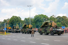 Mobile air defense missile system  9K33 Osa. WARSAW, POLAND - AUGUST 15, 2014: Mobile air defense missile system 9K33 Osa, Gecko. Polish Armed Forces Day. 1200 Stock Photography