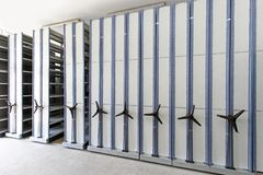 Mobile Aisle Shelving royalty free stock images