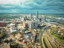 Mobile Alabama. An aerial view of downtown Mobile Alabama during a thunderstorm Stock Photography