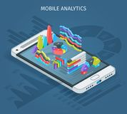 Mobile analytics concept. Modern smartphone with graphs in the isometric projection. Modern infographic template. Realistic vector illustration vector illustration