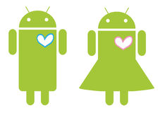 Mobile Android love couple. Illustration of Android young couple in love. Additional format download contains Adobe Illustrator .ai file Royalty Free Stock Image