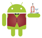 Mobile Android waiter Royalty Free Stock Photos
