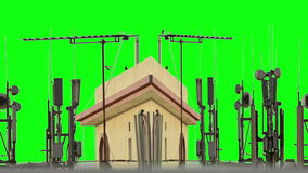 Mobile antennas and TV and pipes over the building. With green background stock video