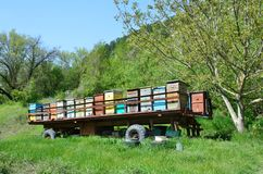 Mobile apiary-trailer at the foot of mount Mangup, Crimea. Mobile apiary-trailer at the foot of mount Mangup шт ыгььук, Crimea stock photography