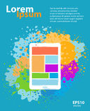Mobile app application design. Web design and app application development creative color illustration. Abstract concept. Booklet poster cover and banner layout Royalty Free Stock Photo