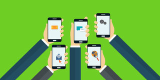 Mobile app. Mobile applications concept. Hands with phones. Flat  illustration Stock Image