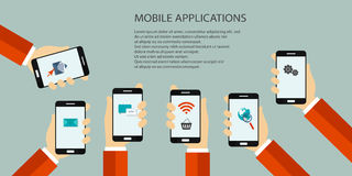 Mobile app. Mobile applications concept. Hands with phones. Flat  illustration Stock Photo