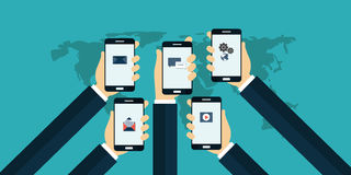 Mobile app. Mobile applications concept. Hands with phones. Flat vector illustration Royalty Free Stock Images