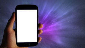 Mobile app banner, galaxy background Stock Photo