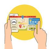 Mobile app for booking taxi. Flat contour illustration of mobile app for booking taxi stock illustration