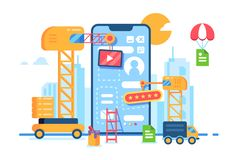 Mobile app building development. Creative process. Application design construction. Flat Vector illustration royalty free illustration