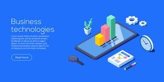 Mobile app for business analysis. Isometric vector illustration vector illustration