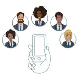 Mobile app for collaboration between different workers Royalty Free Stock Photo