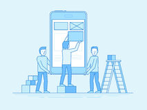 Mobile app design and user interface development concept Royalty Free Stock Images