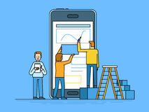 Mobile app design and user interface development concept. Vector illustration in trendy flat and linear style -mobile app design and user interface development Royalty Free Stock Photos