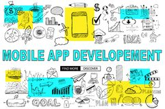 Mobile App Development with Doodle design style :reaching more c. Ustomers, promotions, creative designs. Modern style illustration for web banners, brochure and stock illustration