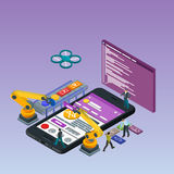 Mobile App Development, Experienced Team. Flat 3d isometric black phone. Manipulator robot robotized. stock photos
