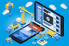 Mobile App Development, Experienced Team. Flat 3d isometric. Vector illustration Stock Images