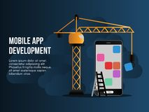 Mobile app development illustration conceptual vector design. Mobile app development concept. Ready to use vector illustration. Suitable for background stock illustration