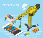 Mobile app development. Isometric illustration with smartphine, icons, crane and conveyor Stock Photo