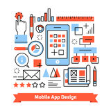 Mobile app development process concept. Thin line art flat illustration with icons Stock Photo