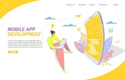 Mobile app development vector website landing page design template. Mobile app development vector website template, web page and landing page design for website stock illustration