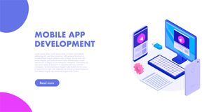 Mobile app development web banner. Mobile app development concept banner with characters. Can use for web banner, infographics, hero images. Flat isometric royalty free illustration