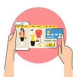Mobile app for fashion shopping Stock Images