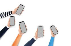 Mobile app flat vector illustration concept. Hands holding phones with blank screen. stock illustration