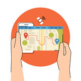 Mobile app for gps navigation. Flat contour illustration of human hand holds smartphone with mobile app for gps navigation Stock Images